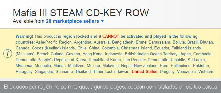 El bloqueo por región impide instalar los videojuegos en algunos países