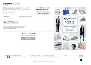 Pagina de registro en Amazon BuyVip