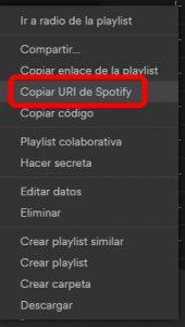 Spotify premium gratis. Copiar URI